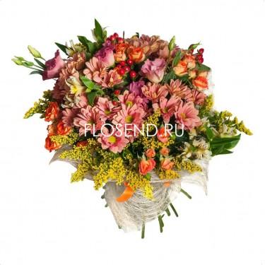 Букет из эустомы и хризантемы и альстромерии
