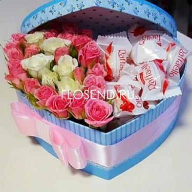 Цветы и сладости в коробке № 164