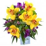 Букет желтых орхидей и альстромерий